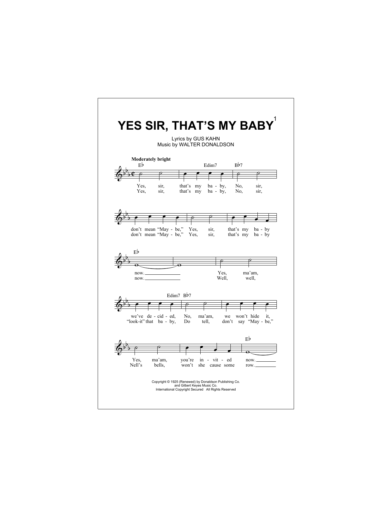 Yes Sir, That's My Baby Sheet Music