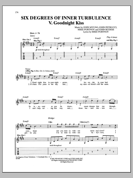 Six Degrees Of Inner Turbulence: V. Goodnight Kiss Sheet Music