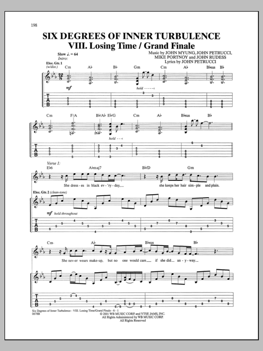 Six Degrees Of Inner Turbulence: VIII. Losing Time/Grand Finale Sheet Music