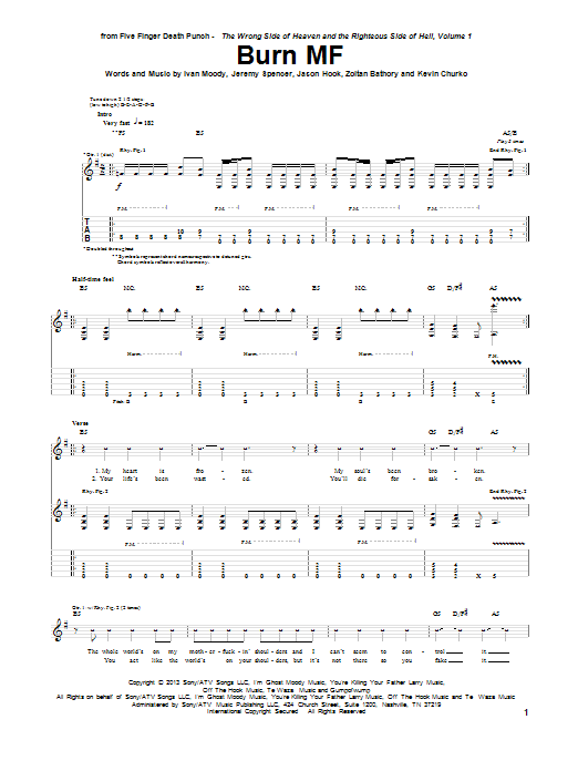 Burn MF Sheet Music