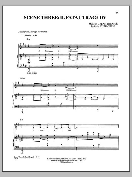 Fatal Tragedy Sheet Music
