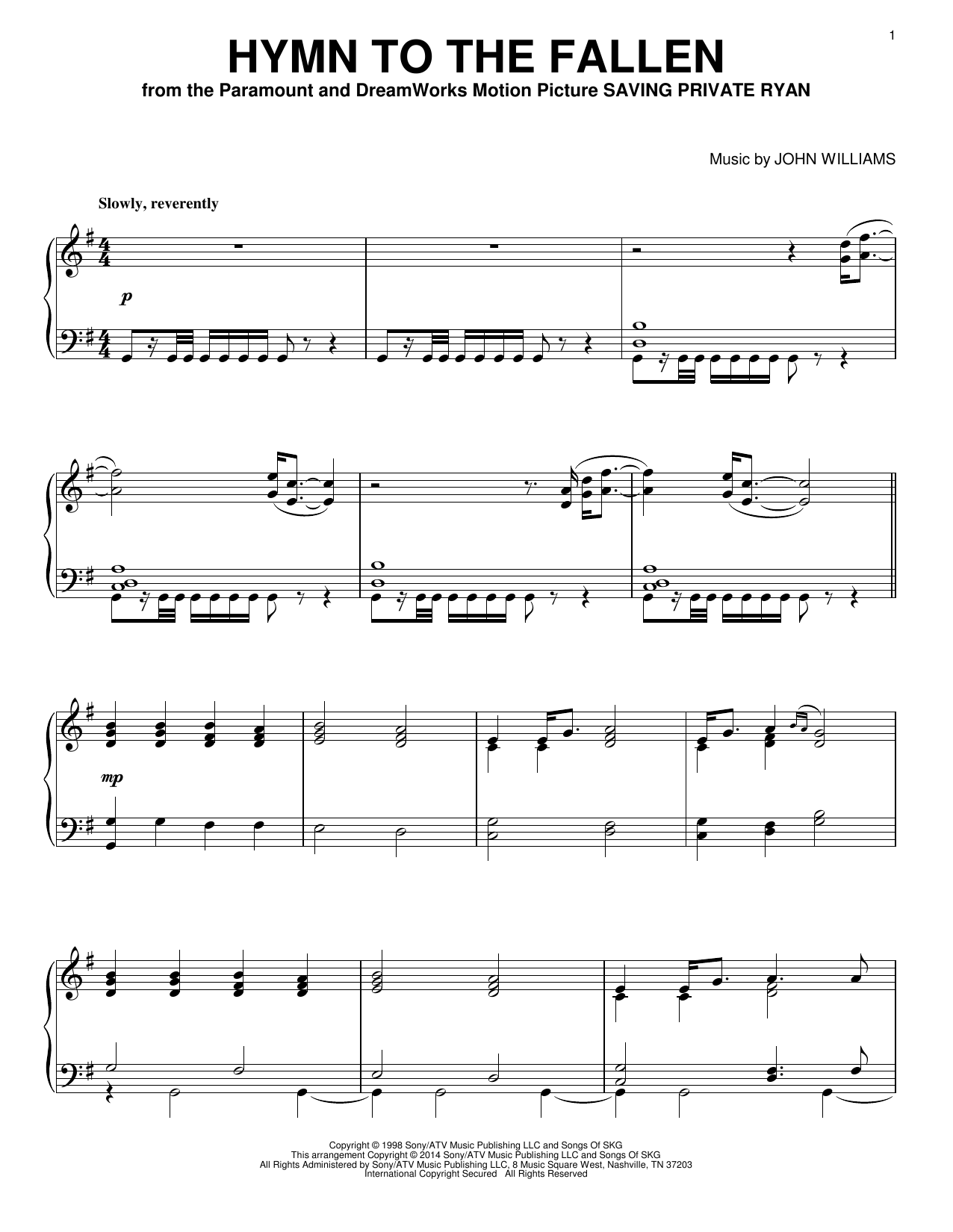 Hymn To The Fallen Sheet Music