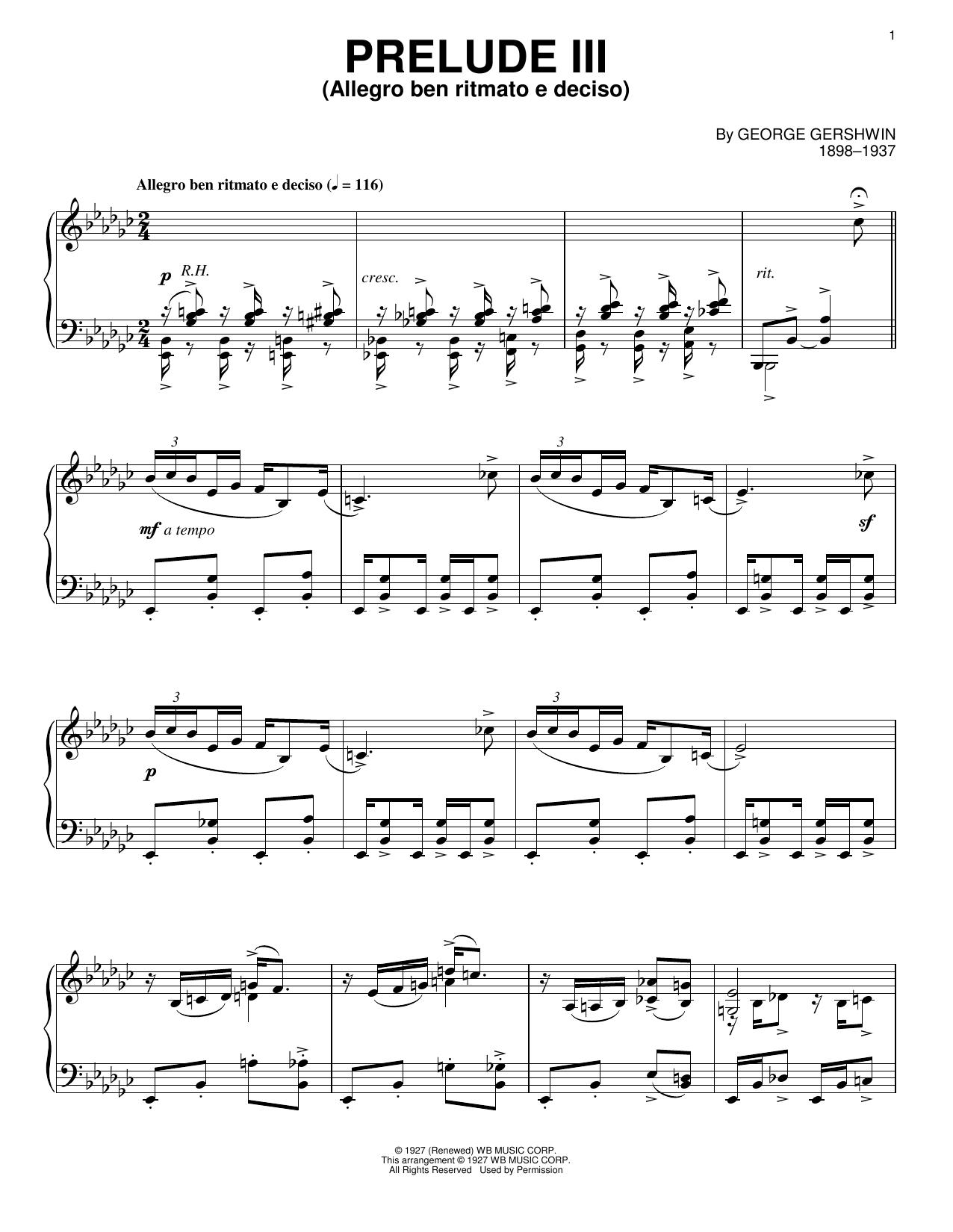 Prelude III (Allegro Ben Ritmato E Deciso) Sheet Music
