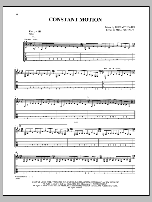 Constant Motion Sheet Music