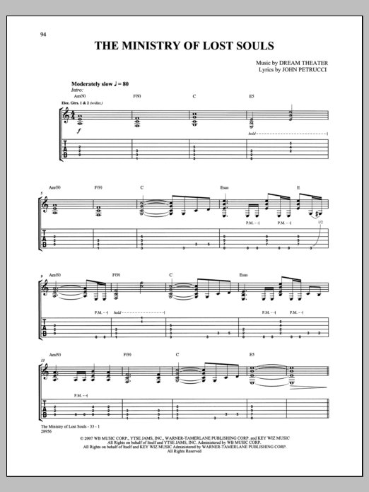 The Ministry Of Lost Souls Sheet Music
