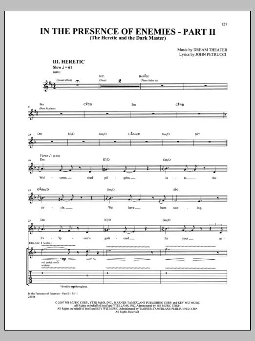 In The Presence Of Enemies - Part II Sheet Music