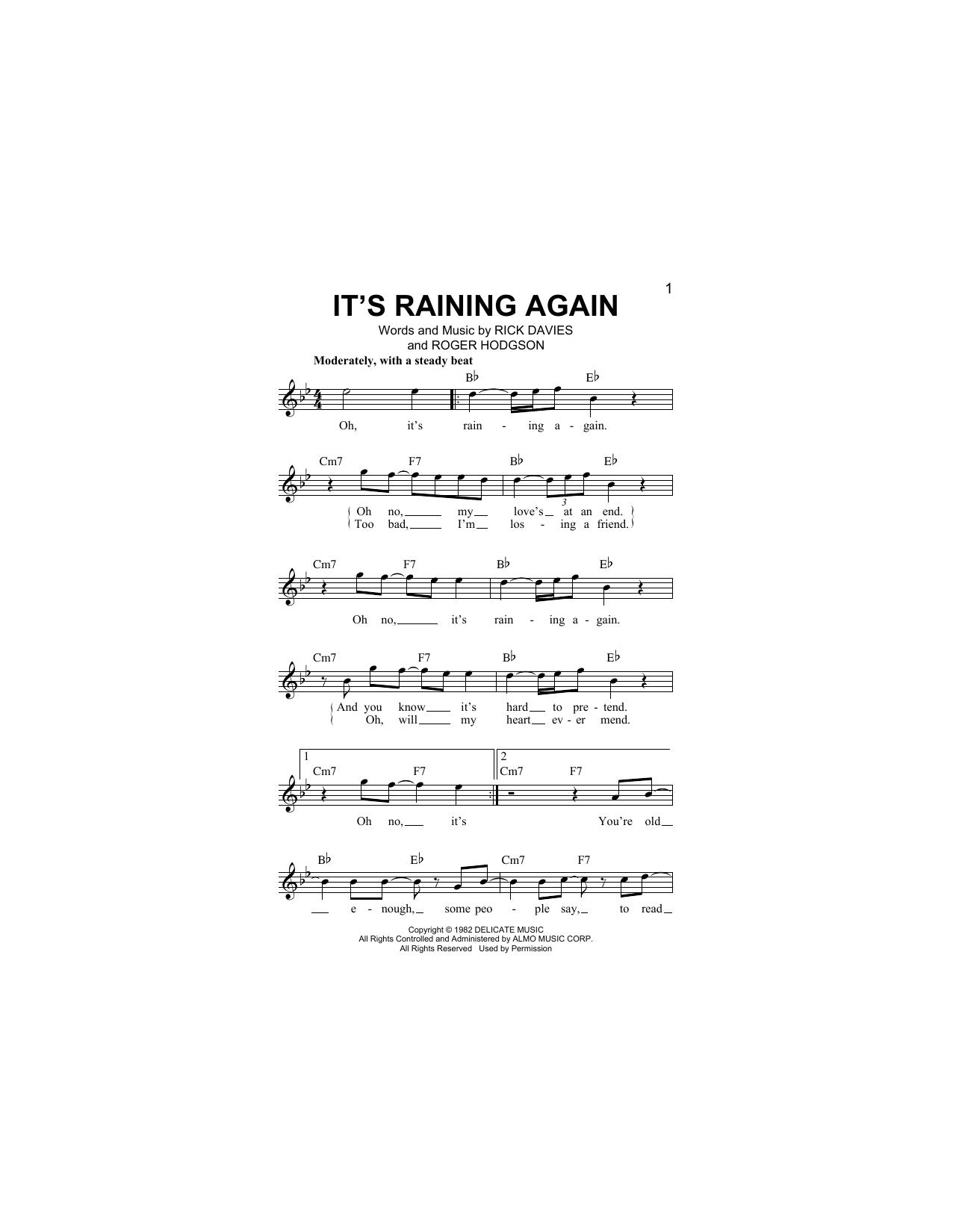 It's Raining Again (Lead Sheet / Fake Book)