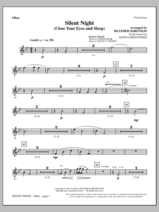 Silent Night (Close Your Eyes and Sleep) - Oboe (Choir Instrumental Pak)