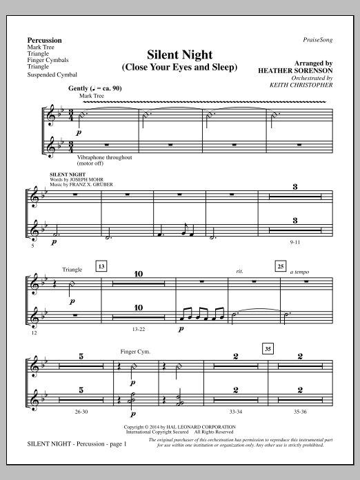 Silent Night (Close Your Eyes and Sleep) - Percussion (Choir Instrumental Pak)