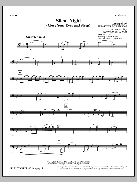 Silent Night (Close Your Eyes and Sleep) - Cello (Choir Instrumental Pak)
