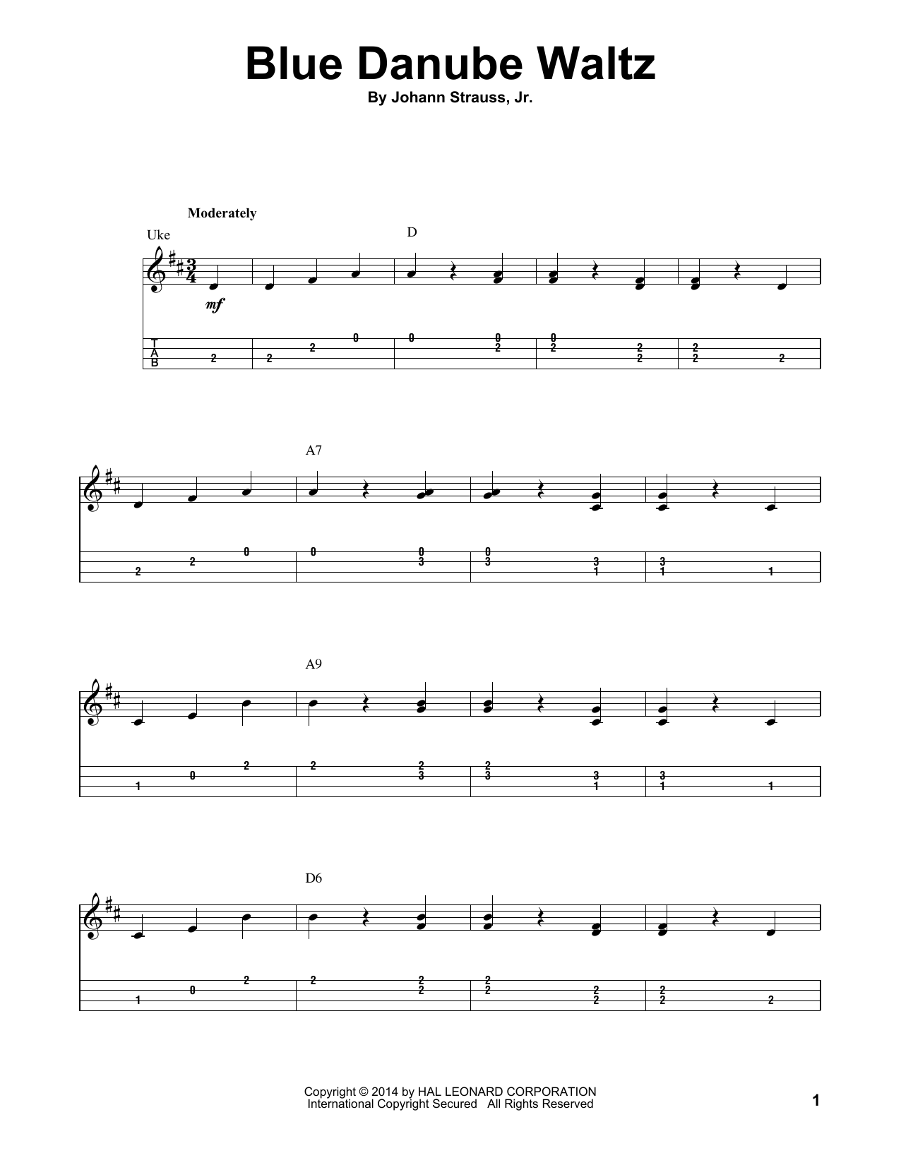 Tablature guitare Blue Danube Waltz de Johann Strauss II - Ukulele