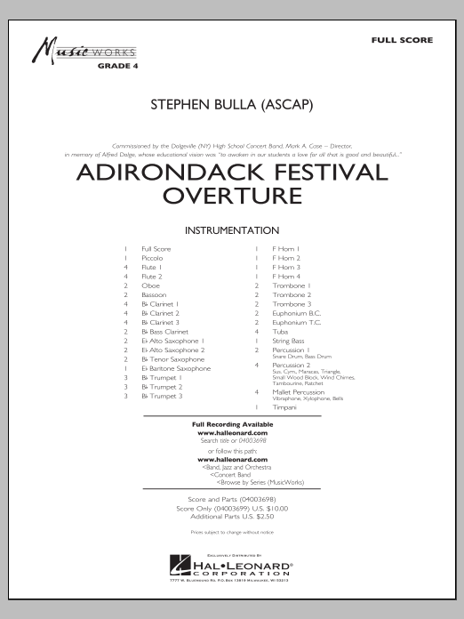 Adirondack Festival Overture (COMPLETE) sheet music for concert band by Stephen Bulla. Score Image Preview.