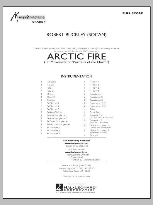 Arctic Fire (COMPLETE) sheet music for concert band by Robert Buckley. Score Image Preview.