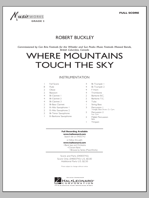 Where Mountains Touch the Sky (COMPLETE) sheet music for concert band by Robert Buckley. Score Image Preview.
