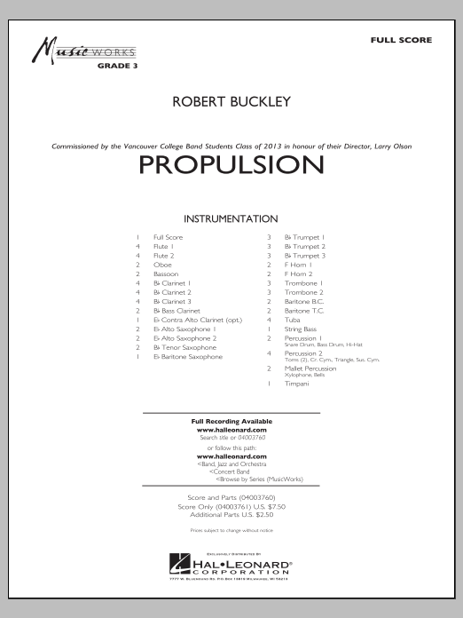 Propulsion (COMPLETE) sheet music for concert band by Robert Buckley. Score Image Preview.