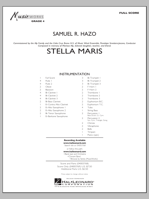 Stella Maris (COMPLETE) sheet music for concert band by Samuel R. Hazo. Score Image Preview.