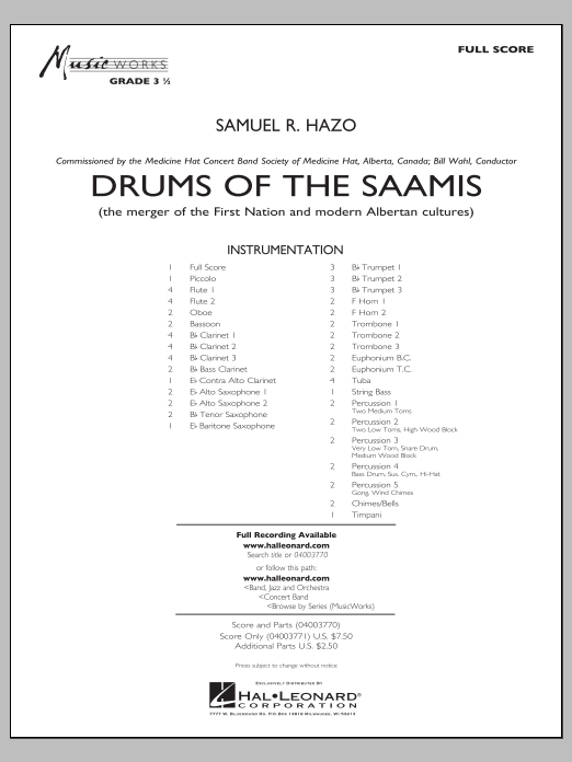 Drums of the Saamis (COMPLETE) sheet music for concert band by Samuel R. Hazo. Score Image Preview.