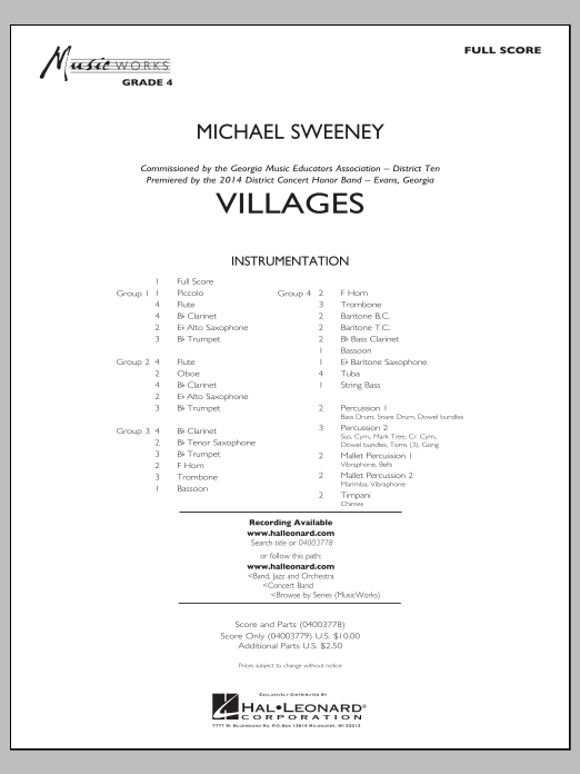 Villages (COMPLETE) sheet music for concert band by Michael Sweeney. Score Image Preview.