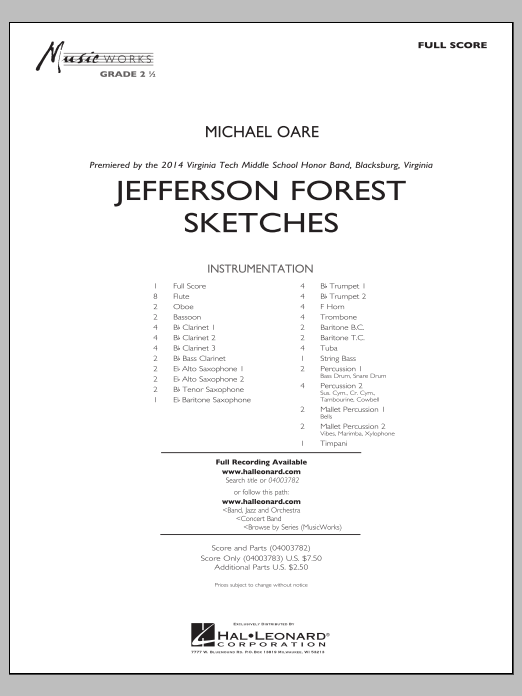 Jefferson Forest Sketches (COMPLETE) sheet music for concert band by Michael Oare. Score Image Preview.