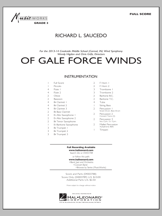 Of Gale Force Winds (COMPLETE) sheet music for concert band by Richard L. Saucedo. Score Image Preview.