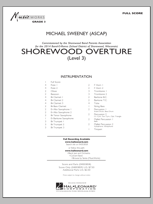 Shorewood Overture (for Multi-level Combined Bands) (COMPLETE) sheet music for concert band by Michael Sweeney. Score Image Preview.