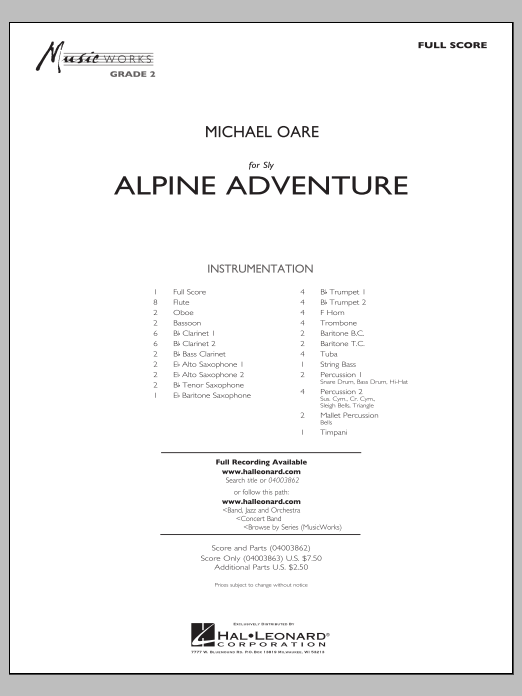 Alpine Adventure (COMPLETE) sheet music for concert band by Michael Oare. Score Image Preview.