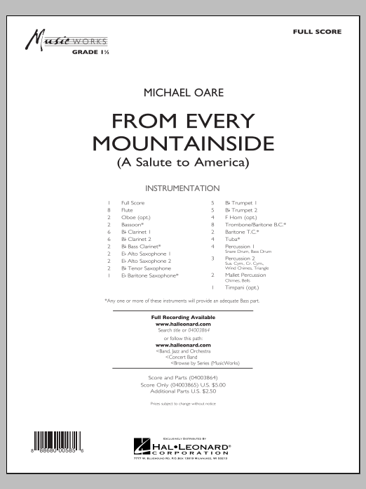 From Every Mountainside (A Salute to America) (COMPLETE) sheet music for concert band by Michael Oare. Score Image Preview.