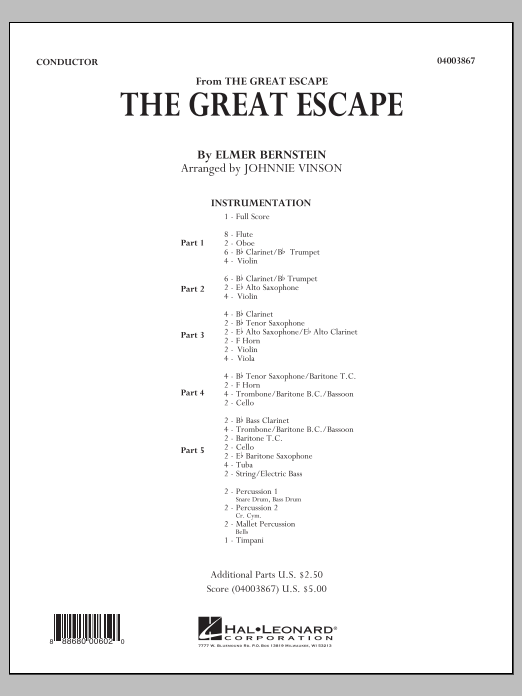 The Great Escape (March) (COMPLETE) sheet music for concert band by Johnnie Vinson, Al Stillman and Elmer Bernstein. Score Image Preview.