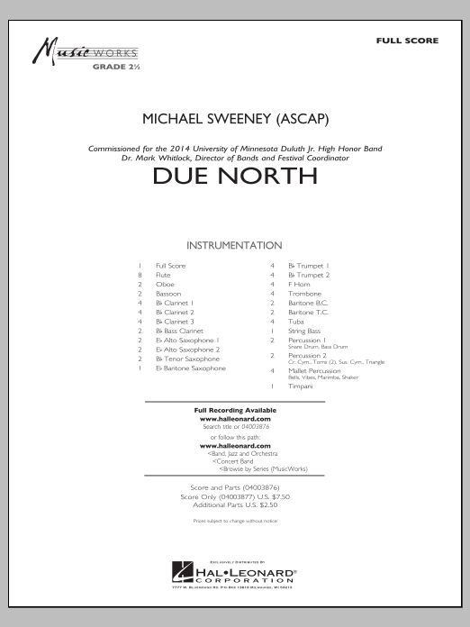 Due North (COMPLETE) sheet music for concert band by Michael Sweeney. Score Image Preview.