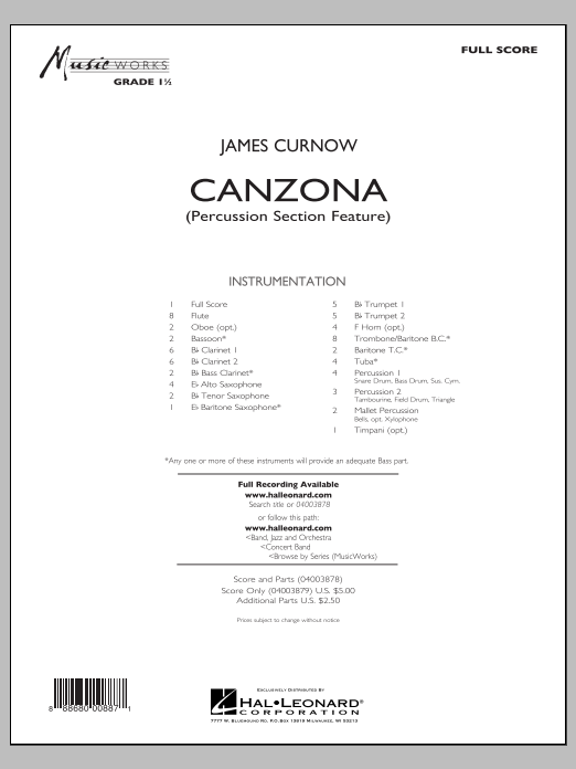 Canzona (COMPLETE) sheet music for concert band by James Curnow. Score Image Preview.