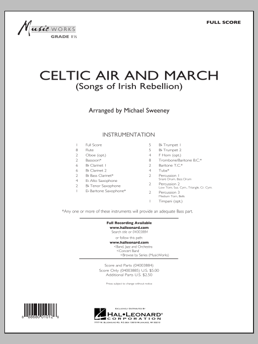 Celtic Air and March (Songs of Irish Rebellion) - Conductor Score (Full Score) (Concert Band)