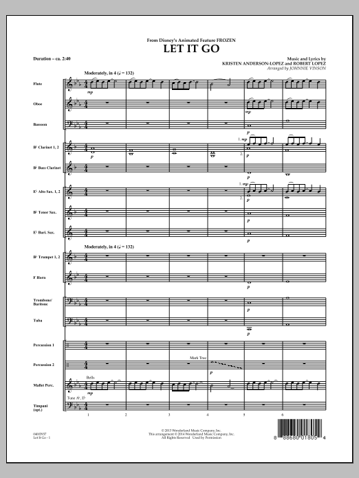 Let It Go (from Frozen) (COMPLETE) sheet music for concert band by Johnnie Vinson, Idina Menzel, Kristen Anderson-Lopez and Robert Lopez. Score Image Preview.