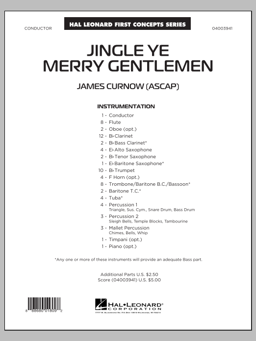 Jingle Ye Merry Gentlemen (COMPLETE) sheet music for concert band by James Curnow. Score Image Preview.