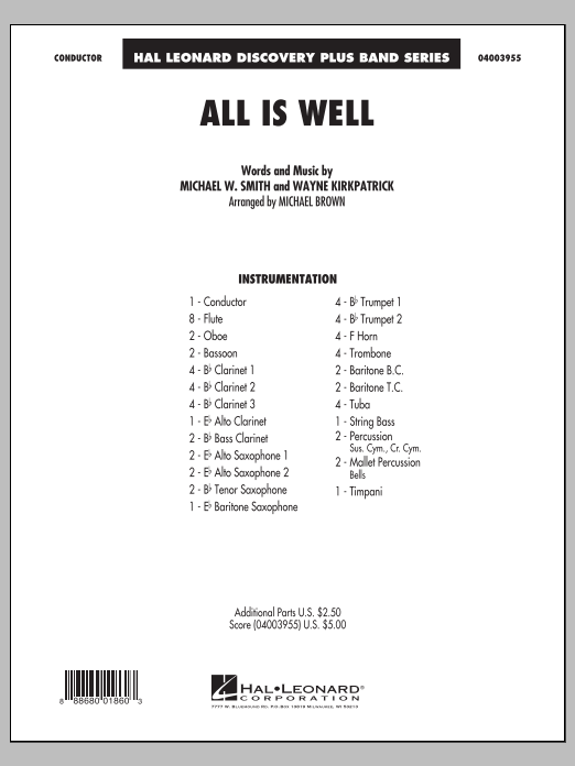 All Is Well (COMPLETE) sheet music for concert band by Michael Brown, Michael W. Smith and Wayne Kirkpatrick. Score Image Preview.