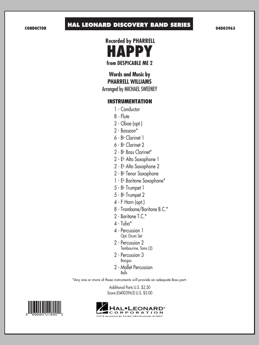 Happy (from Despicable Me 2) (COMPLETE) sheet music for concert band by Mike Sweeney, Pharrell and Pharrell Williams. Score Image Preview.
