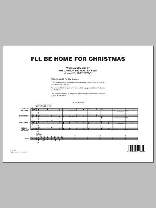 I'll Be Home for Christmas - Conductor Score (Full Score) (Jazz Ensemble)