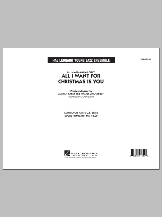 All I Want for Christmas Is You (COMPLETE) sheet music for jazz band by Mariah Carey and John Berry. Score Image Preview.