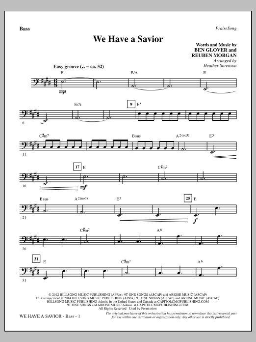 We Have a Savior - Bass (Choir Instrumental Pak)
