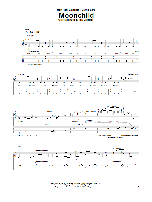 Tablature guitare Moonchild de Rory Gallagher - Tablature Guitare