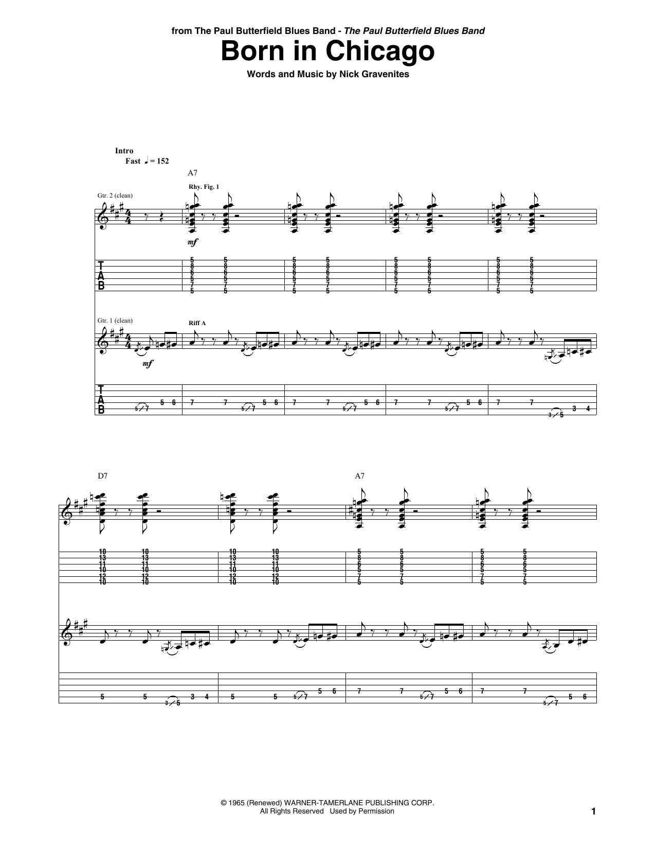Born In Chicago Sheet Music