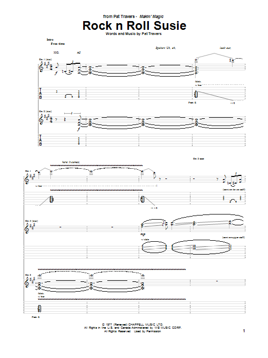 Rock N Roll Susie Sheet Music
