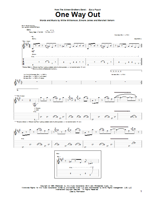 One Way Out Sheet Music