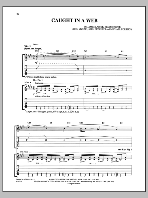 Caught In A Web Sheet Music