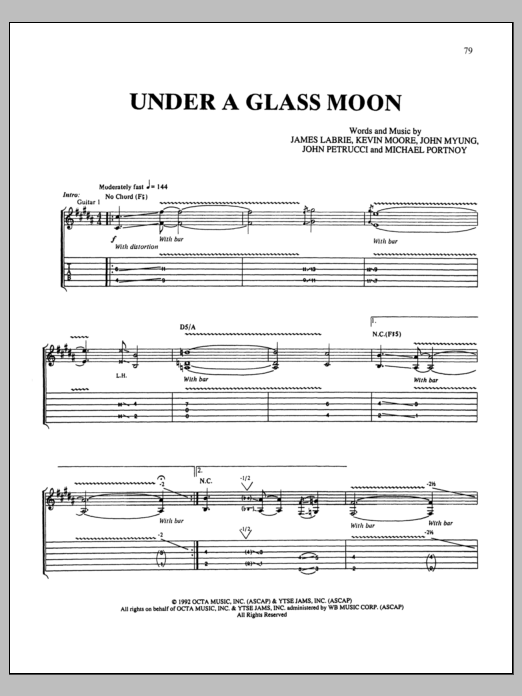 Under A Glass Moon Sheet Music