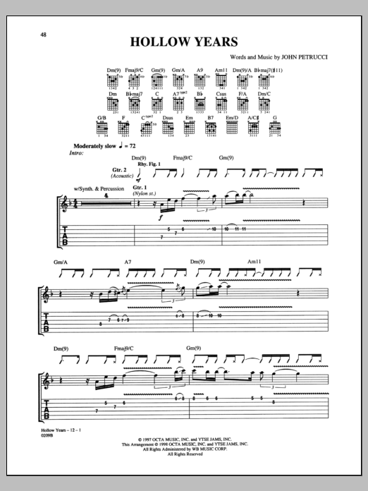Hollow Years Sheet Music