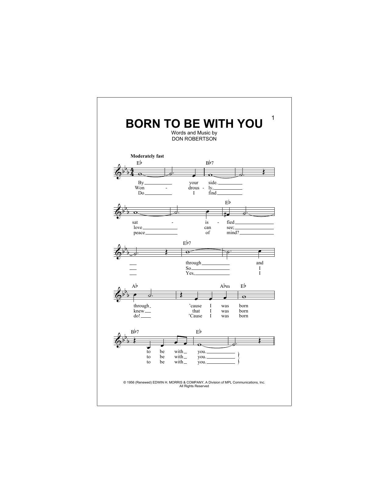 Born To Be With You Sheet Music