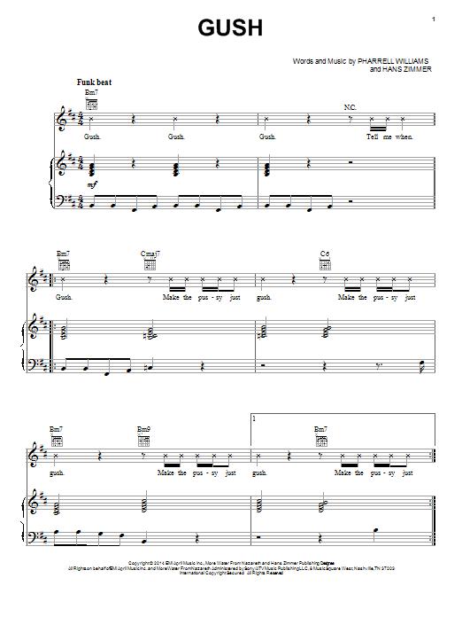 Partition piano Gush de Pharrell Williams - Piano Voix Guitare (Mélodie Main Droite)