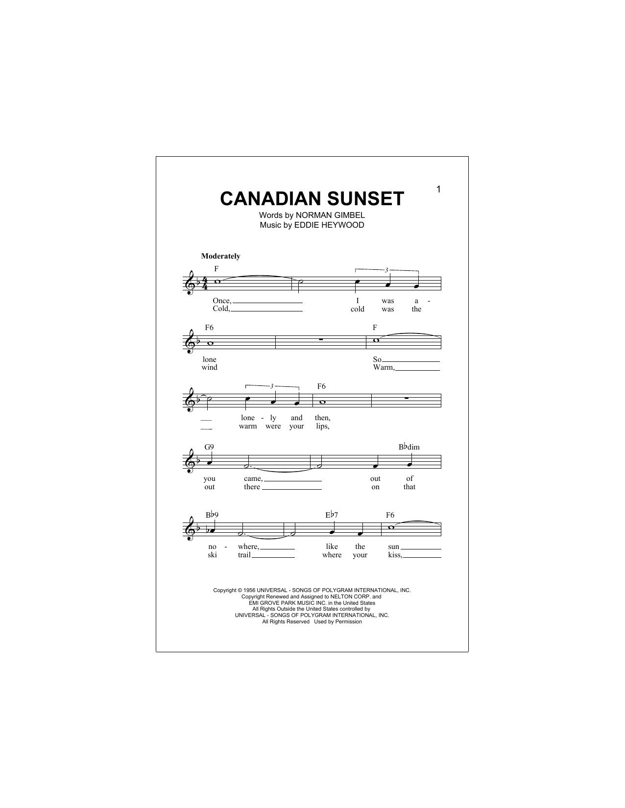 Canadian Sunset Sheet Music