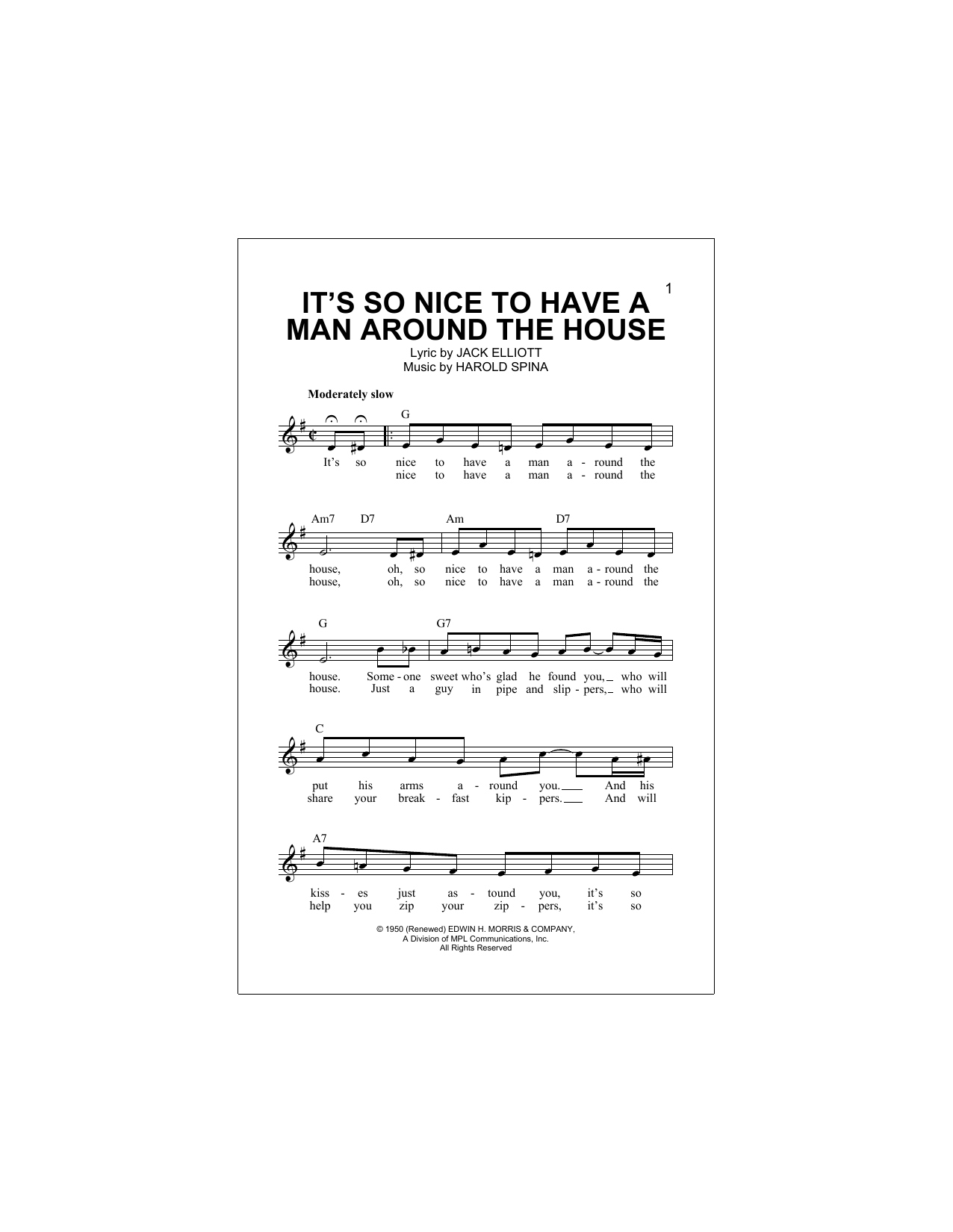 It's So Nice To Have A Man Around The House Sheet Music
