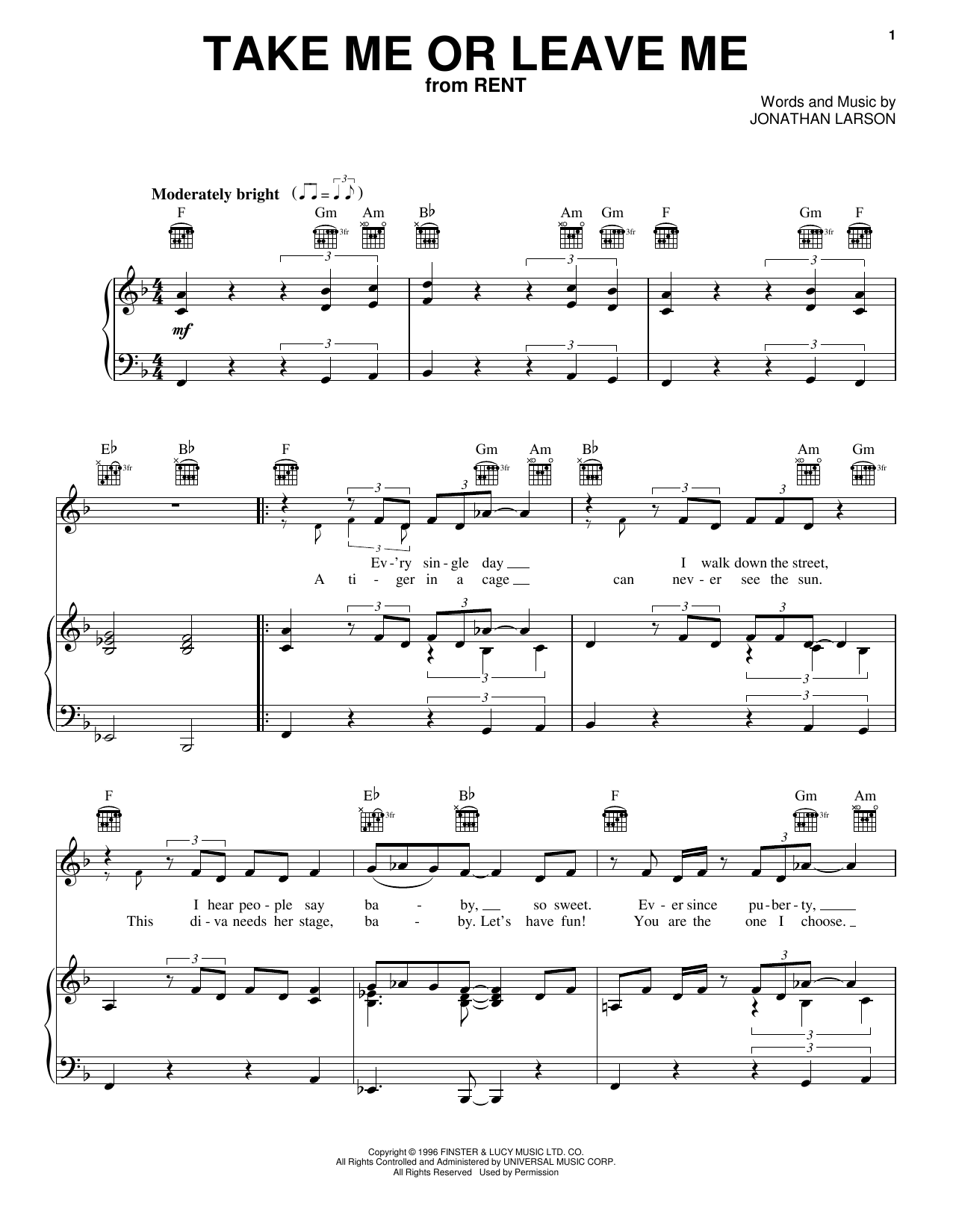 Take Me Or Leave Me Sheet Music